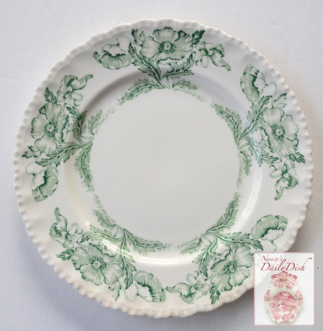 Scalloped Vintage Green Transferware Dinner Plate w/ Lovely Poppy Flowers Poppies