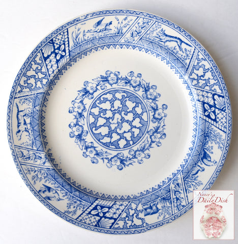 Antique Light Blue Wedgwood English Aesthetic Transferware Hunt Scene Dog Pheasant Staffordshire Plate