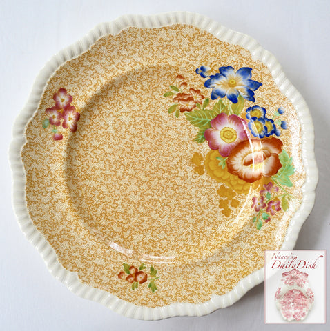 Spode Copeland Jasmine Yellow Transferware Polychrome Flowers Charger or Dinner Plate