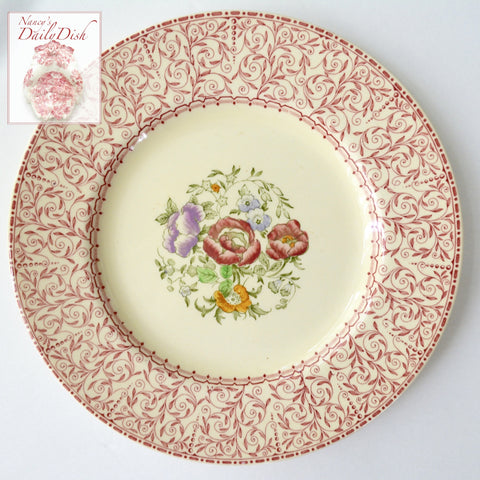 Vintage Red Vine Transferware Plate Hand Painted Roses & Floral Bouquet Wood Sons