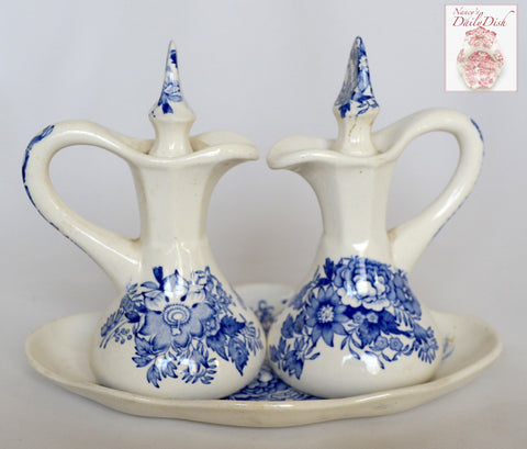 Vintage Blue Transferware Oil & Vinegar + Platter Set Asiatic Pheasants Maling Pheasants Birds Roses