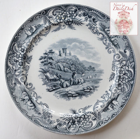Rare Antique English Grey / Black Transferware  Charger / Plate Pastoral Grazing Sheep Scrolls Castle