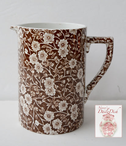 Vintage Brown Floral Chintz Calico English Transferware 24 oz Measuring Pitcher