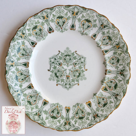 English Victorian China Green Transferware Plate Geometric Scrolls & Kaleidoscope Starburst Meakin Genoa