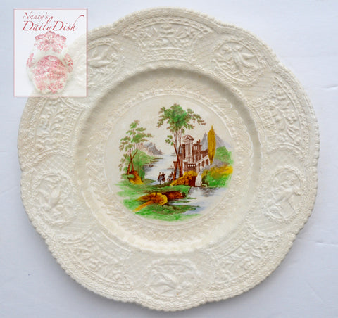 Creamware Staffordshire Brown Polychrome Transferware Charger Plate Embossed Floral & Bird Border