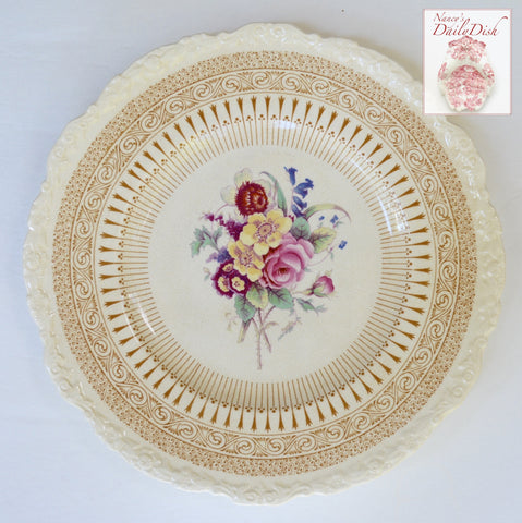 Vintage Brown Transferware Charger Plate with Hand Painted Roses & Floral Bouquet Royal Cauldon