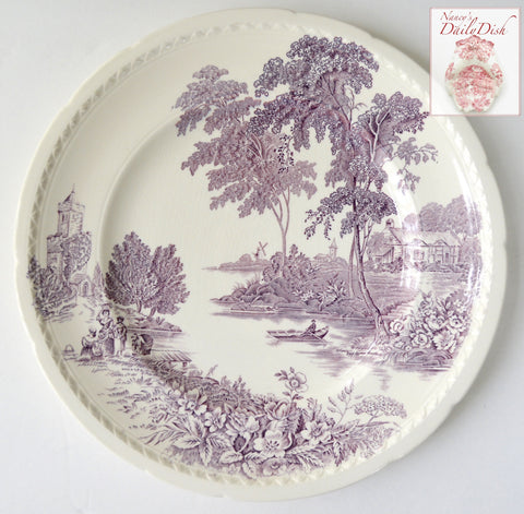Vintage Purple English Transferware Plate Scenic Boat on River Roses Cottage