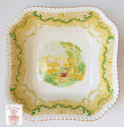 RARE Yellow Transferware Spode Copeland Continental Views Square Serving Bowl Painted