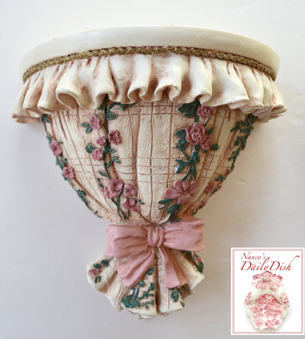 Vintage French Country Cottagel Pink Ribbons & Roses Wall Corbel / Shelf w/ Hand Painted Finish