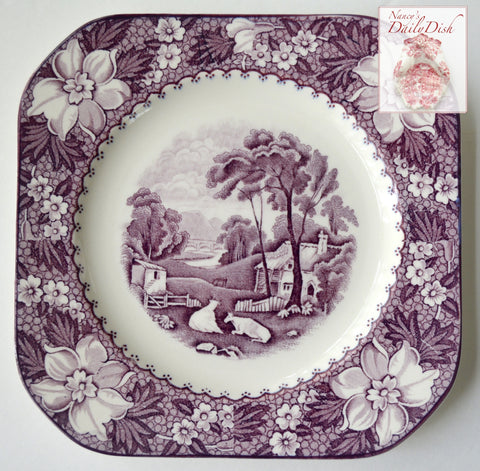 Square Purple Transferware Salad Plate Grazing Cow Cattle Cottage Bridge Peonies