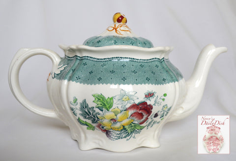 Vintage English China Teal Green Transferware Teapot Floral Bouquet Roses Hand Painted Flowers Cottage
