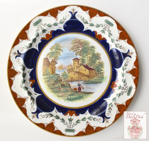 Brown Polychrome Clobbered Transferware Plate Landscape Wedgwood Rustic European Scene Wash Day at Stream