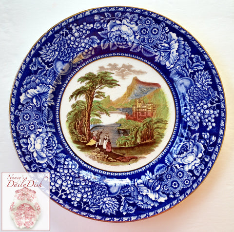 Blue & Brown Polychrome 2 Color Transferware Plate Jenny Lind - Mountain & Castle Scenery - Royal Staffordshire - Hand Painted