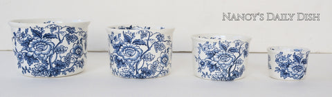 Set of 4 Blue English Ironstone Floral Chintz Transferware Nesting Measuring Bowls w/ Flowers- Farmhouse Kitchen Decor