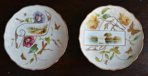 Circa 1878-91 Late Victorian Pair Hand Painted Scenic Gilded Plates w/ Gilt Butterfly Dragonfly Powell Bishop Stonier