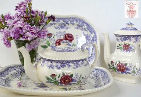 Spode Mayflower Periwinkle Purple  / Lavender Transferware Teapot with Hand Painted Pink Flowers