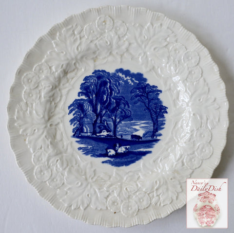 Vintage Blue Transferware Plate Embossed Border Grazing Cattle Cows