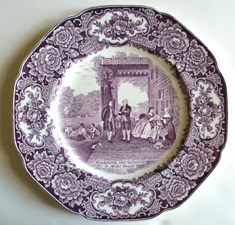 Circa 1932 Purple Transferware Octagon Shaped Plate Washington Bicentenary Lafayette at Mount Vernon