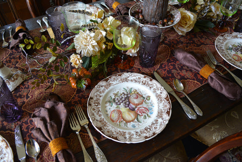 Johnson Brothers Brown Transferware Plate Harvest Fruit Windsor Ware - Beautiful Thanksgiving Fall / Autumn Dinnerware