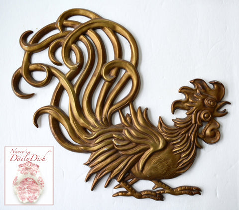 "Cocorico! 12"" Vintage Antique'd Gold Metal Gallic French Country Rooster Plaque e coq gaulois"