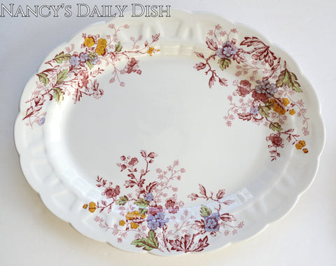 Lg Vintage Red English Garden Transferware Platter Periwinkle Pink Green Yellow Flowers Leaves