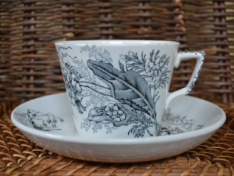 Antique English Black Transferware  Aesthetic Movement Tea Cup and Saucer Bees & Botanicals