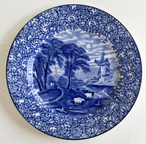 Vintage Blue Chintz Transferware Plate Grazing Cattle near Windmill