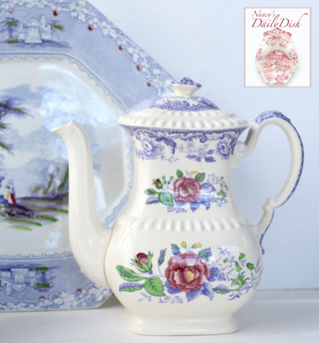 Vintage Roses Spode Mayflower Periwinkle / Lavender Transferware Tall Teapot Coffee Pot Hand Painted
