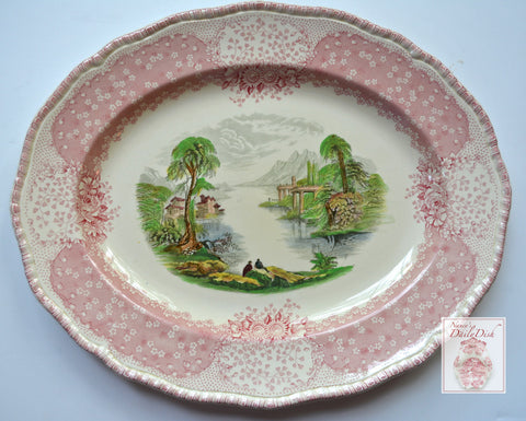 Large Royal Doulton Chatham Pink / Red Black Two Color Transferware Platter French Cottage on the Lake