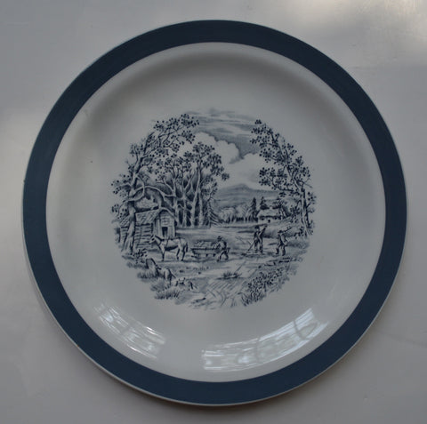 Meakin Slate Gray English Transferware Plate Charming Farmstead Pastoral Scene - Farmhouse Cottage in the Country