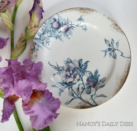Antique Aesthetic Movement Teal & Lavender Flowers Transferware Plate Royal Doulton