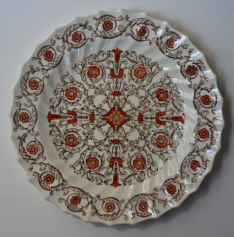 Spode Brown Transferware Plate Geometric Swirls and Scrolls with Handpainted shades of Rust Red and Orange