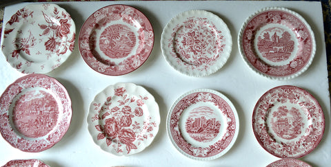 Red Pink Transferware Plate  Historic Castle River Scrolls and Roses
