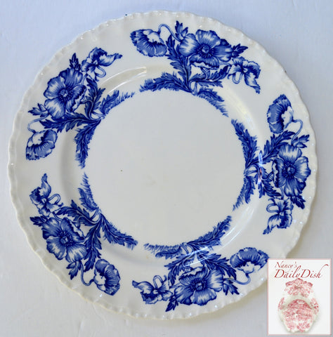"Scalloped Vintage Blue and White Transferware 9"" Plate w/ Lovely Poppy Flowers Poppies"