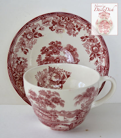 Red Transferware Huge Joke Cup and Saucer Tonquin Roses Swans Cottage Royal Staffordshire Clarice Cliff