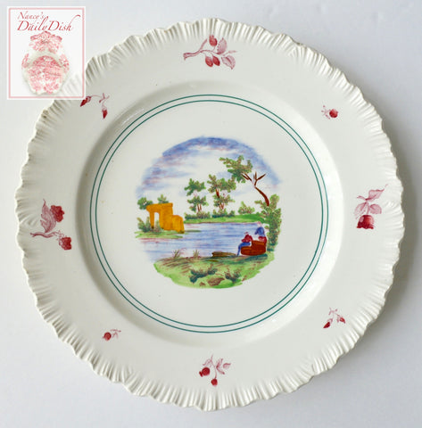 Wedgwood Multicolored Transferware Plate Embossed Border Summertime Fishing Scenes