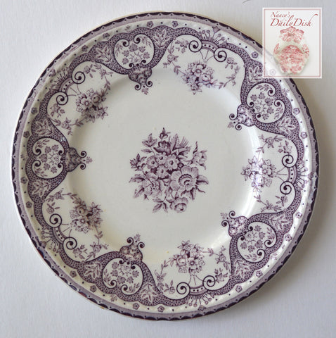 Purple Transferware Vintage English Plate Shabby Victorian Roses and Scrolls