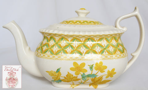 Rare Yellow Transferware Teapot Spode Copeland Lattice and Geraniums Flowers