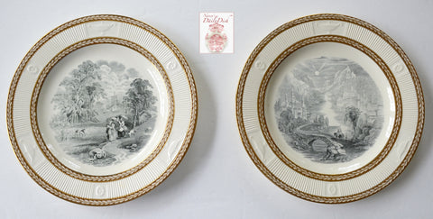 Pair of Antique Black Transferware Plates Embossed & Gilded Gilt Acanthus Leaf Border 2 Pastoral and Mountain Scenes