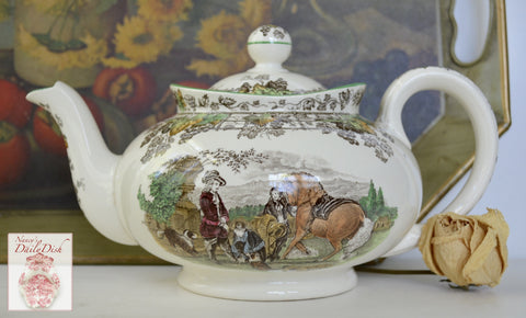 Spode Brown Transferware Tea Pot Polychrome Horse Dogs English Hunt Scene