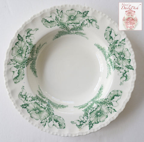 Green Transferware Rimmed Scalloped Bowl w/ Lovely Poppy Flowers Poppies
