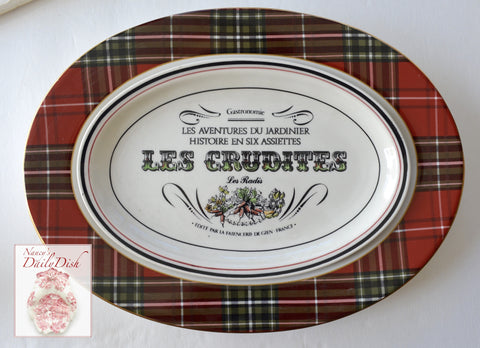 Country French Advertising Black Transferware Artichoke Platter Gastronomie Les Crudites L'Artichaut