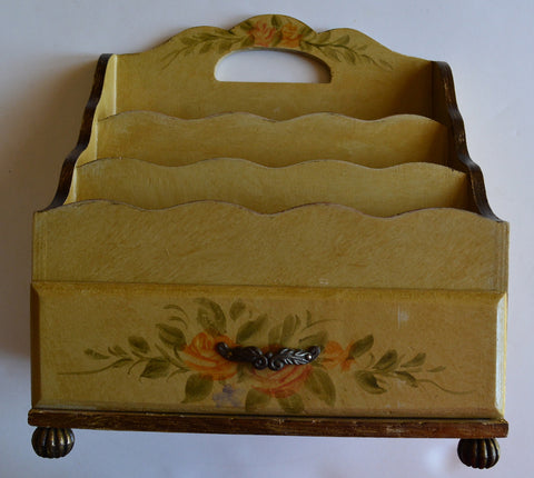 French Cottage Roses Vintage Hand Painted Desk Top Stationary / Letter Box w/ Drawer