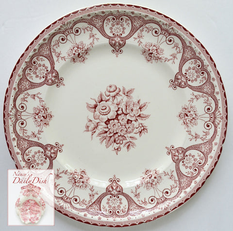 "Red Pink Vintage English Transferware 10"" Plate Shabby Roses and Victorian Scrolls"