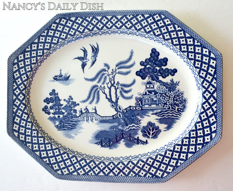 Vintage Blue & White Chinoiserie Transferware Serving Platter  Blue Willow