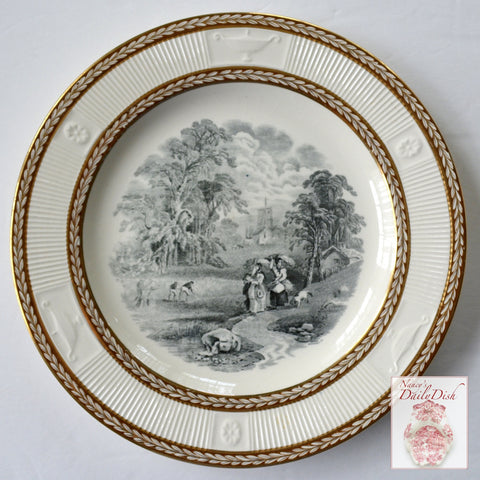 Antique Black Transferware Plate Harvesting Wheat Embossed & Gilded Gilt Acanthus Leaf Border