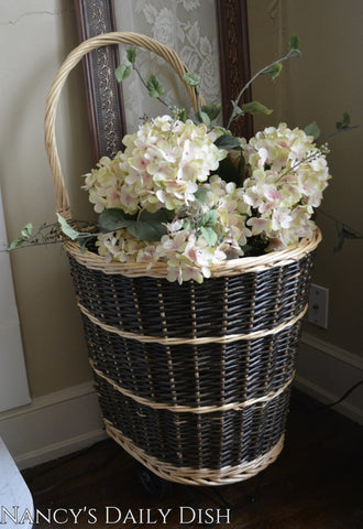 Handwoven Rattan / Wicker Rolling French Market Basket / Shopping Cart