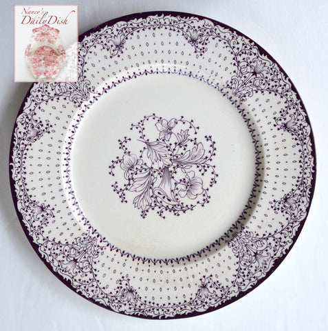 "Purple English Transferware Clarice Cliff Lace and Flowers 8"" Salad Plate"