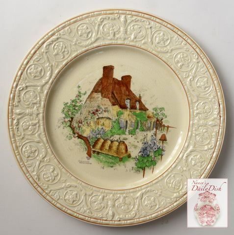Hand Painted Brown Transferware Plate Bee Keeper Platter Thatched Cottage English Gardens Bee Skep