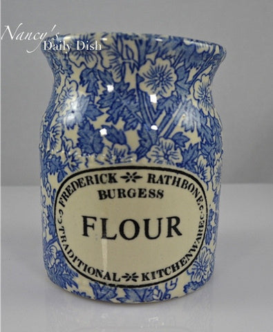Blue English Ironstone Chintz Transferware Advertising FLOUR Shaker Lace Flowers and Scrolls - Kitchen Decor